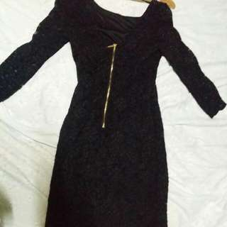 Forever 21 Black Lace Dress with Gold Zipper at the back