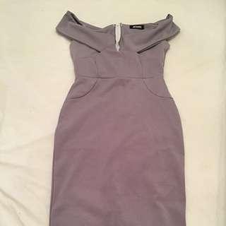 Off The Shoulder Purple Grey Dress Mid Length