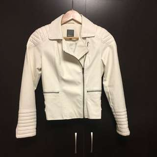 White Faux Leather Jacket (Small)l, New With Tag)