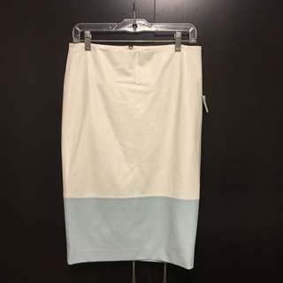 White/Baby Blue Faux Leather Skirt (Size 7)