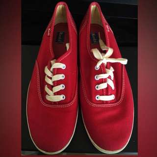 KEDS Red Canvas Lace Up Sneakers