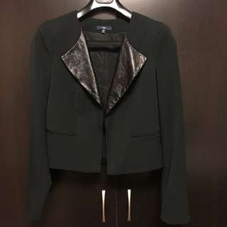 Black Blazer With Leather Collar (Medium)