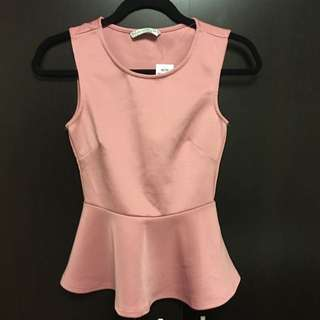 Light Pink Peplum Top (XS, With Tags)