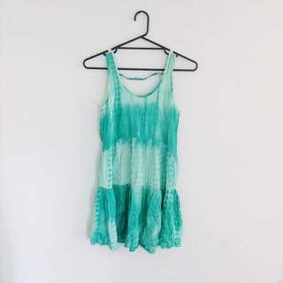 Tie-dye Green Summer Dress