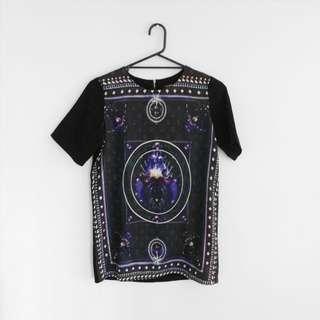 Purple And Black T-shirt Dress