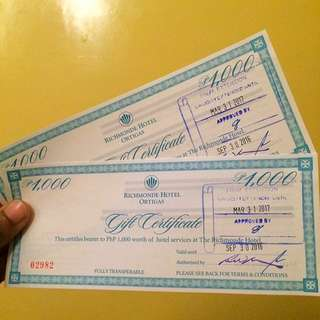 2k Gift Certificate For Richmonde Hotel Only For 1,500