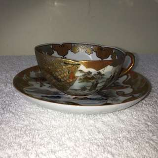 Antique Japanese Egg Shell Porcelain Cup And Saucer