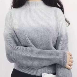 短身灰色漸變毛衣