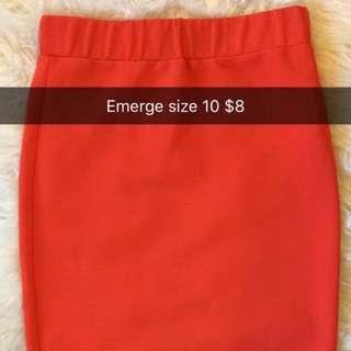 Orange Knee Length Skirt