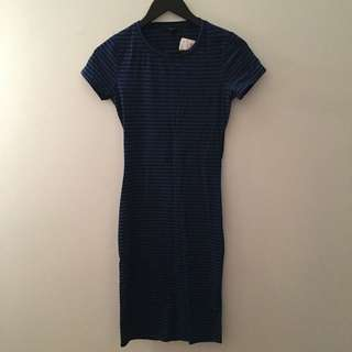F21 Blue & Black Striped Dress W/ Cutout Back
