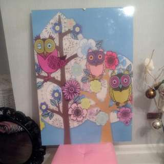 Owl Wall Art Approximately 24 X 36