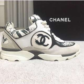 Authentic Chanel White/grey/black Sneakers Size 37