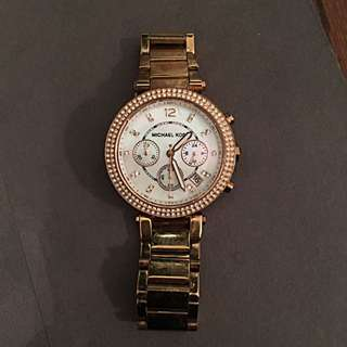 Michael Kors Gold Metal Watch With Diamonds