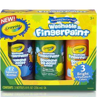 BNIB: Crayola Washable Fingerpaint (Secondary), 3 Count/8-Ounce