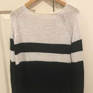 ZARA Knit Size S, Black/white Striped Jumper