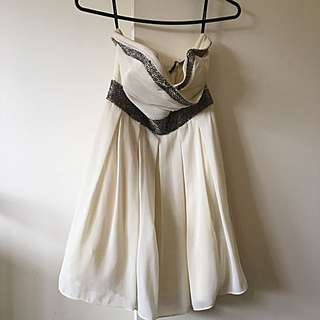 Cream Dress With Silver Detailing
