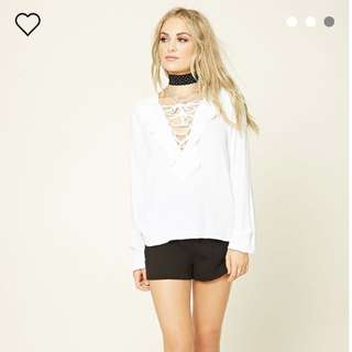 🌟BNIP🌟 Forever 21 White Ruffles Laced Up Top