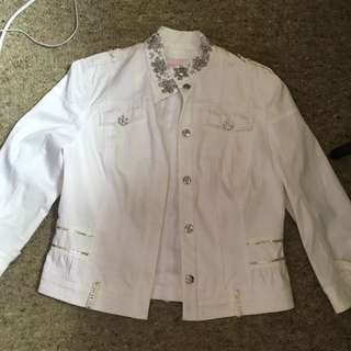 White Denim Jacket Size 12