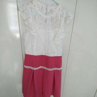 Lace Dress With Ruffle Sleeves M Size