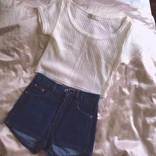 Crop Top And Denim Shorts Set