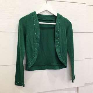 綠色 針織小外套 短版