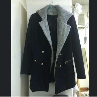 正韓 深藍x灰 連帽 大衣外套