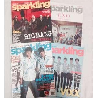 Sparkling Magazine Set 3+1 (K-pop) EXO/BEAST/BIGBANG/IKON/VIXX/FAMEUS/TVXQ/KARA