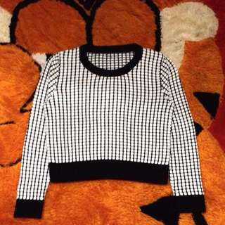 White Square Black Jumper