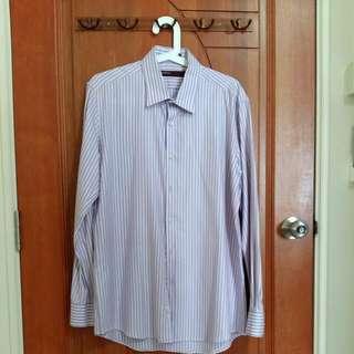 BN 100% 2 Ply Cotton Perry Ellis Purple Striped Office Wear