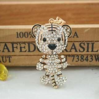 Fashion Cute Tiger Crystal Rhinestone Charm Pendant Key  Chain  (Size: One Size)