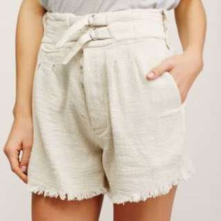 SHAKUHACHI SAFARI RAW EDGE LINEN SHORTS NATURAL