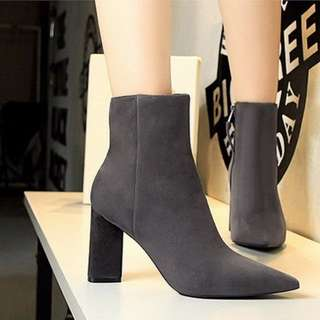 Suede Pointed Zipped Boots