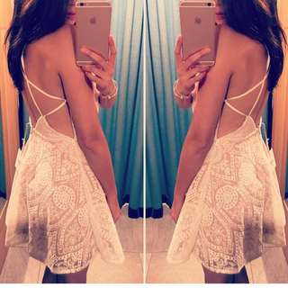 White Lace Romantic Backless Dress