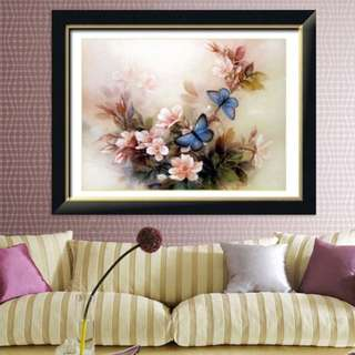 DIY [Rose w/Butterfly] Counted Cross Stitch / Stamped Cross Stitch / Printed Cross Stitch Craft Kit (Size: 55x45cm)