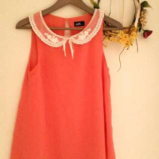Coral Sleeveless Blouse (8)