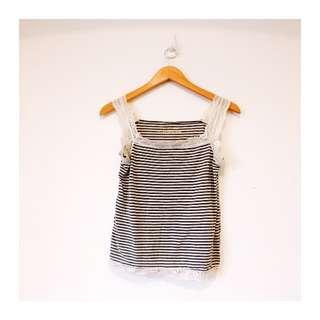 日本 森系 蕾絲條紋小背心
