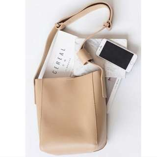 Simple Messager Sling In Beige