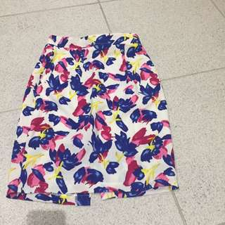 Floral Knee Length Skirt