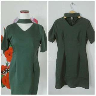 Dress Hijau Army, Pakai Furing, All Size