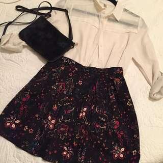 Stradivarius Tulip Skirt - Black With Floral Details, Size 2 US
