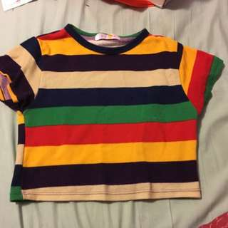 Cheep Striped Crop Colourful