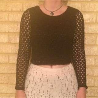 Dotti Black Size M Midriff Top Lace