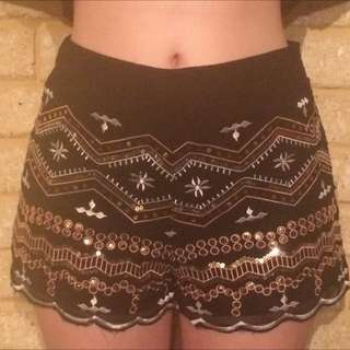 Black High-waisted Embroidered Shorts Sequins Size 10
