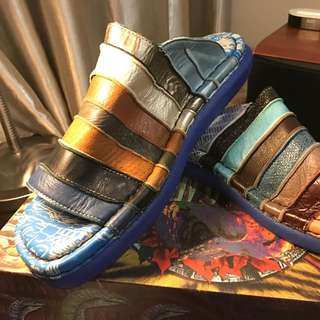 Super Comfy Slippers, Multi Color Leather Uppers