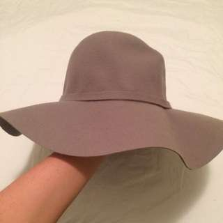 Grey Wide Brim Hat - Wide Brimmed Fedora