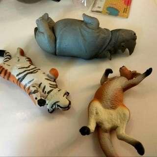 第四代 休眠 休憩 睡覺 老虎 袋鼠 犀牛 扭蛋 轉蛋(三隻180,有紙)