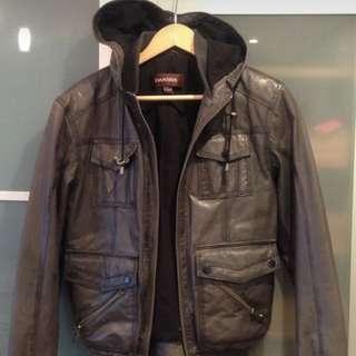 Danier Grey Leather Hooded Jacket