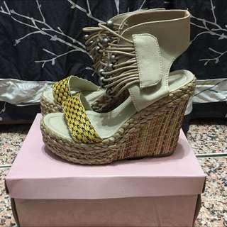 二手 波希米亞 民族風 楔形涼鞋 38碼