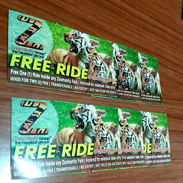 6 Zoomanity Group FREE RIDE Vouchers