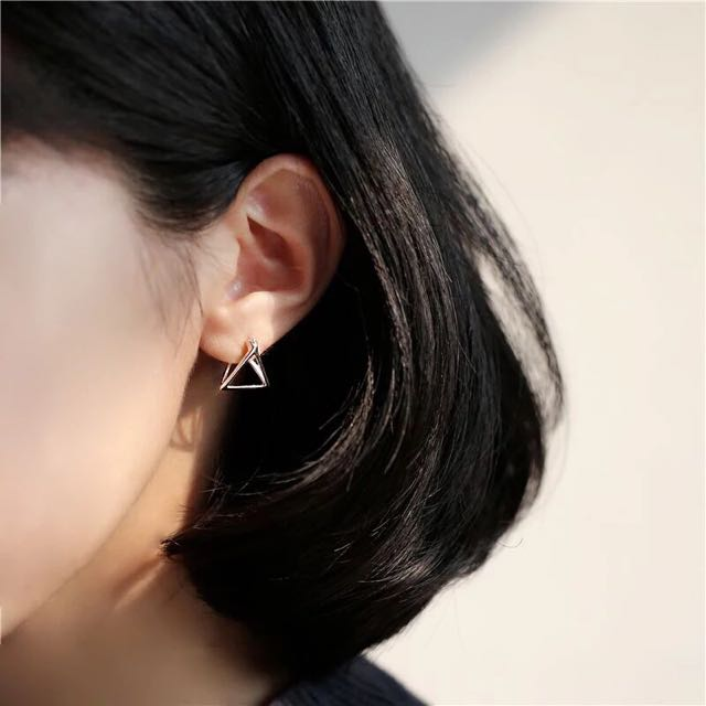 三角幾何造型耳環